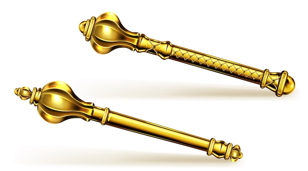 Golden scepter for king or queen, royal wand for monarch