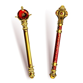 Golden scepter for king or queen, royal wand with gems for monarch