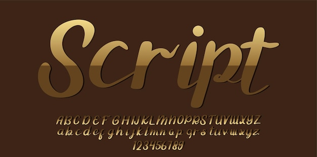 Carattere dell'alfabeto con caratteri dorati