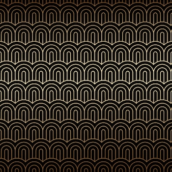 Golden seamless background with chinese waves, art deco pattern