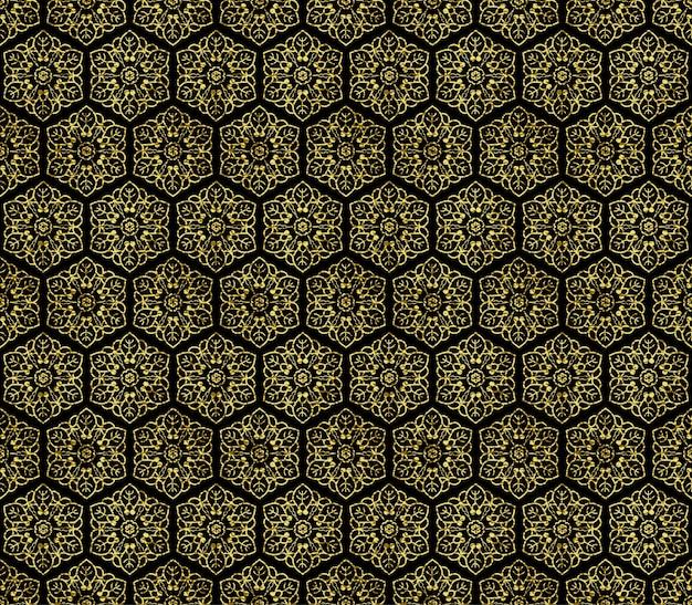 Золотой бесшовные цветочный орнамент из элементов цветочного дизайна