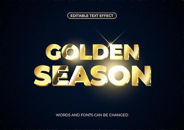 Золотой текстовый эффект сезона. редактируемый золотой текст с блестящими бликами на темном фоне