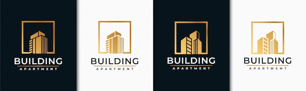 Golden set building logo design inspiration