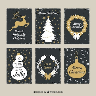 Golden set of christmas cards