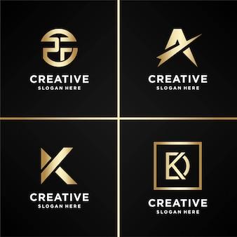 골든 세트 로고 디자인 영감, 편지, 금, 모양, 현대, 추상, 컬렉션, 프리미엄