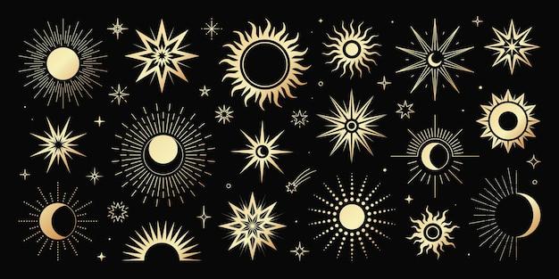 신비로운 마법의 다른 태양과 달의 황금 세트. 영적 신비주의 개체, 유행 스타일.