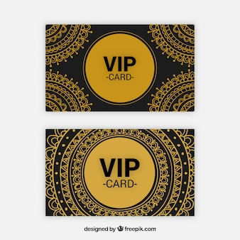 Golden set of vip cards with tribal style