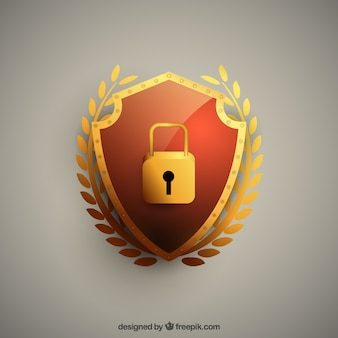 Golden shield background with padlock