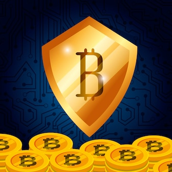 Golden shield bitcoin currency money technology