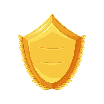 Golden shield. first place winner, trophy, sport award. isolated vector icon of golden shield first place cartoon style.