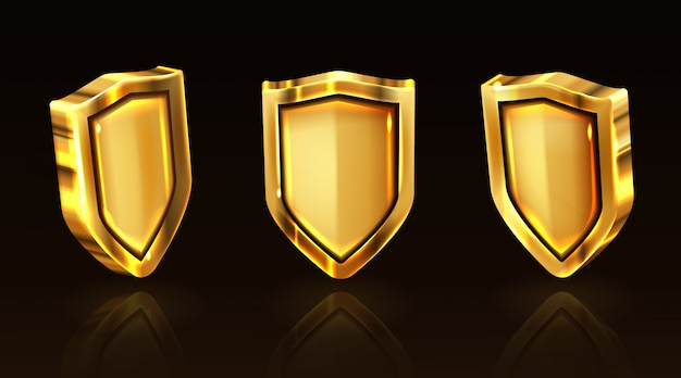Golden shield vector icons set, gold knight ammo