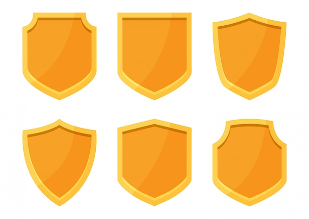 Golden shields collection.   illustration