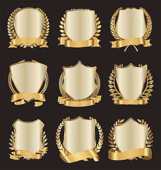 Golden shields laurel wreath with golden ribbon collection