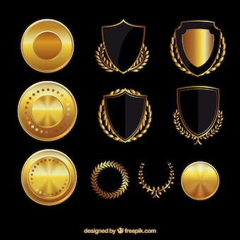 Golden shields and medals