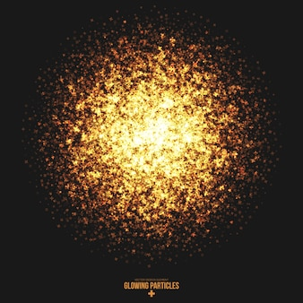 Golden shimmer glowing cross particles background