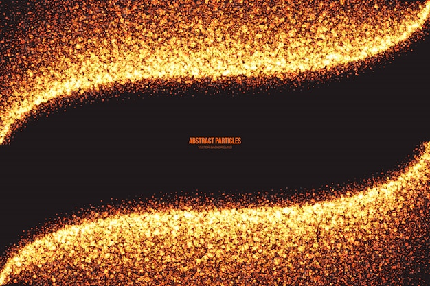 Golden shimmer glowing round particles vector background