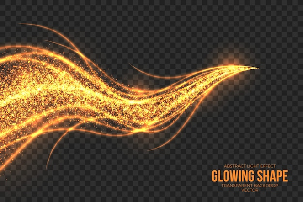 Golden shimmer glowing shape background