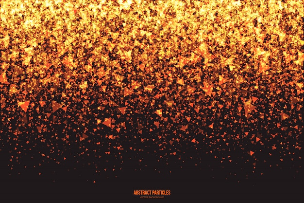 Golden shimmer glowing triangular particles abstract vector background