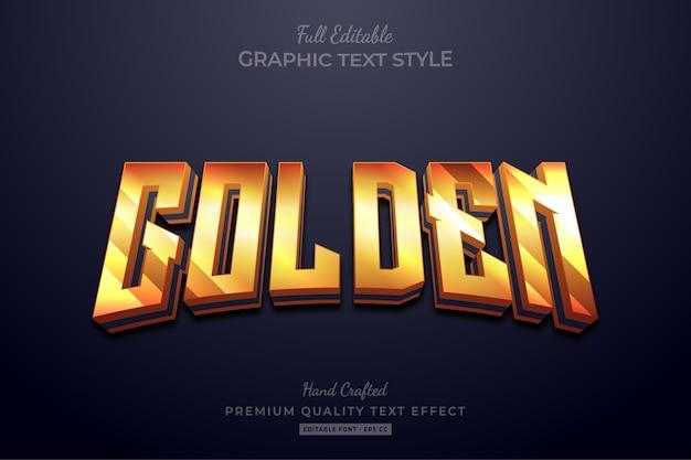 Редактируемый эффект стиля текста премиум-класса golden shine