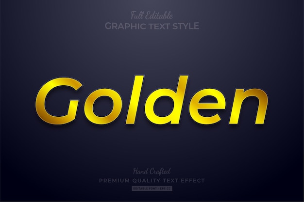 Golden shine editable text effect font style