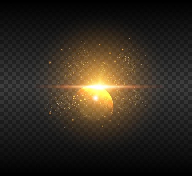 황금 빛나는 별. 밝은 별 조명 효과