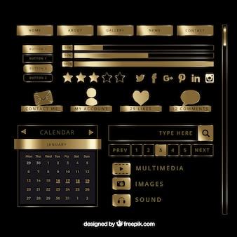Golden shiny blog elements set