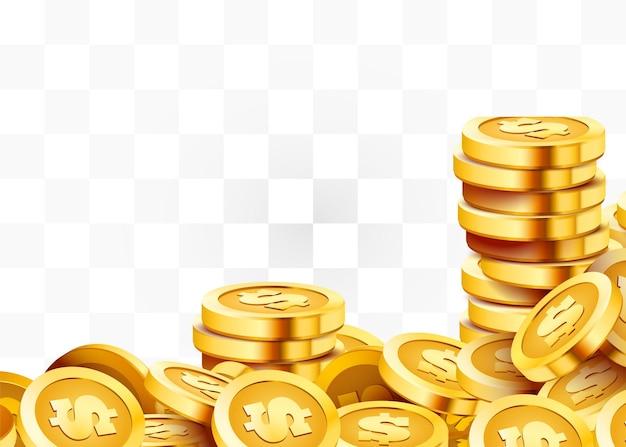 金色の光沢のあるコイン。たくさんのドル。リッチまたはカジノ運の概念。