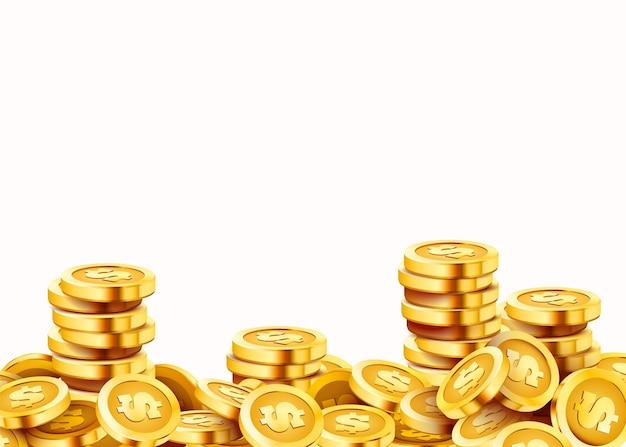 金色の光沢のあるコイン。たくさんのドル。