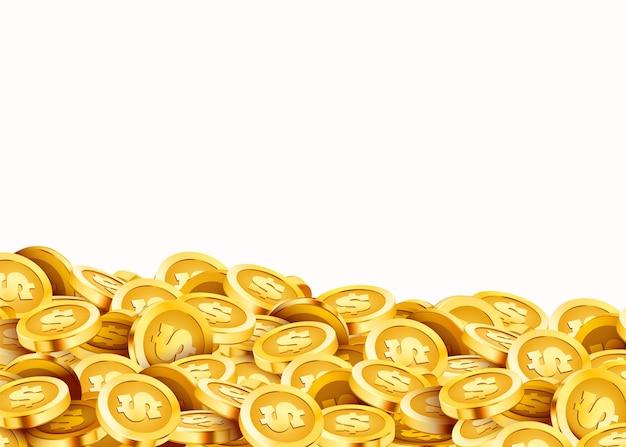 황금 빛나는 동전. 큰 무리의 달러.