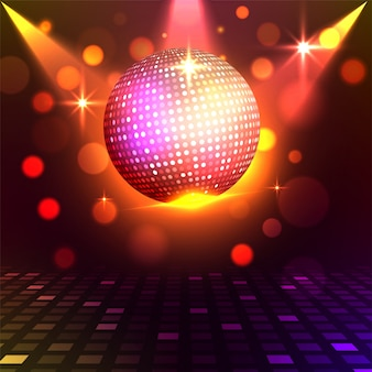 Golden shiny disco ball on shiny colorful lights background. disco night concept.
