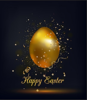 Golden shiny easter egg on a black background. happy easter greeting card.