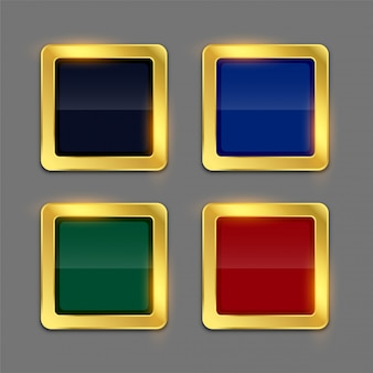Golden shiny frame button in four colors set