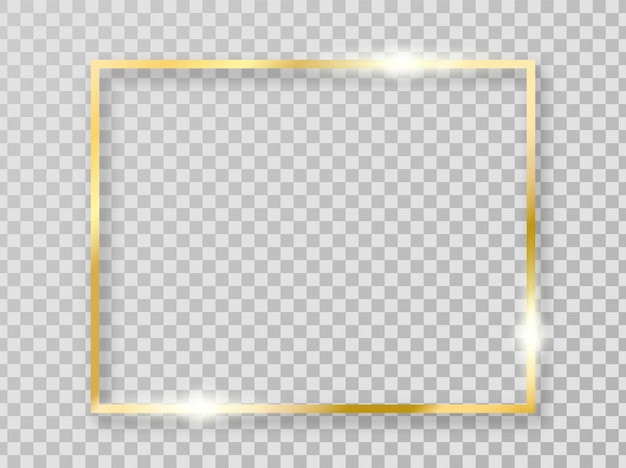 Golden shiny frame with shadows isolated on transparent background. gold border for decoration.