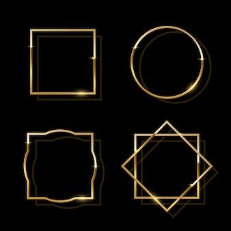 Golden shiny frames isolated on black background, golden luxury realistic border set.