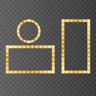 Golden shiny frames isolated on a transparent background. golden gradient frames with light. set frame