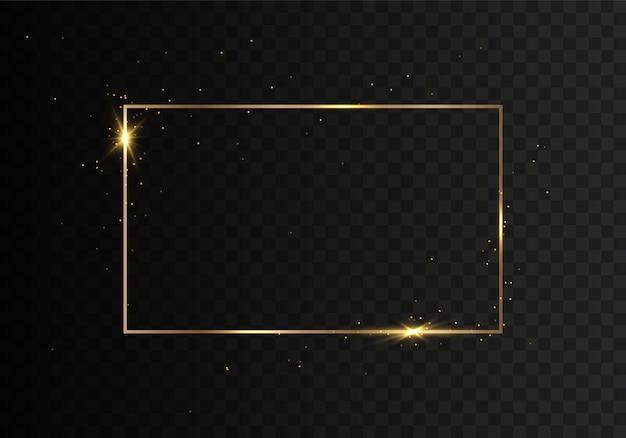 透明な背景にほこりが分離された金色の光沢のあるフレーム。
