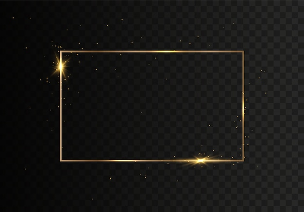 Golden shiny frames with dust isolated on a transparent background.
