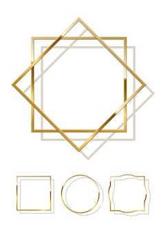 Golden shiny frames with shadows isolated on white background.