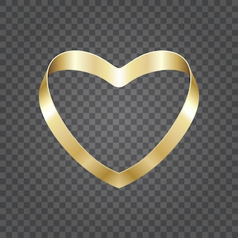 Золотые блестящие формы сердца из ленты, изолированные на прозрачном фоне. легко заменить фон.