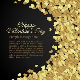 Золотые блестящие сердечки конфетти поздравительная открытка дня святого валентина