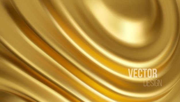 黄金の光沢のある液体波3 dのリアルな背景。