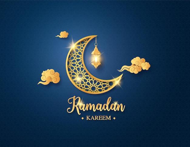 Золотая блестящая луна с подвесным фонарем, поздравительная открытка рамадана карима, вырезка из бумаги