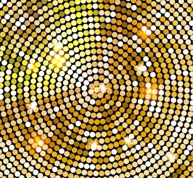 Golden shiny mosaic in disco ball style.  gold disco lights background. abstract background
