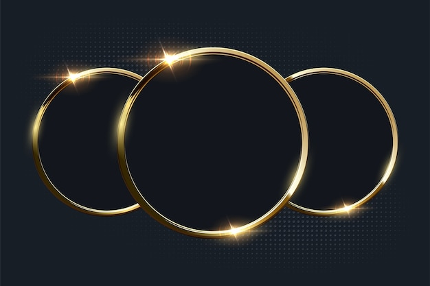 Golden shiny rings with copyspace on dark background.