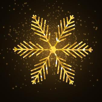 Golden shiny snowflake on black background. glittering xmas snowflake holiday card.