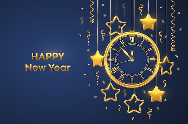 Golden shiny watch with roman numeral, golden tinsel and shining golden stars on blue background