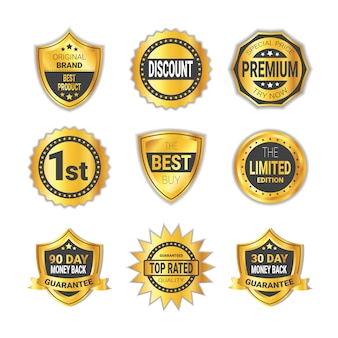 Golden shopping badge sale or high quality shields emblem collection isolated