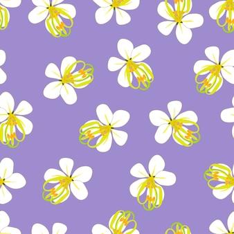 Golden shower flower on purple background