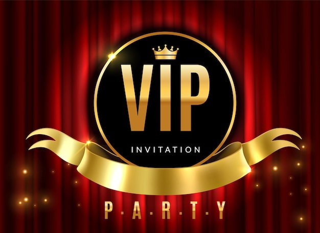 Golden sign of event premium certificate or card on red luxury curtains for private invitation