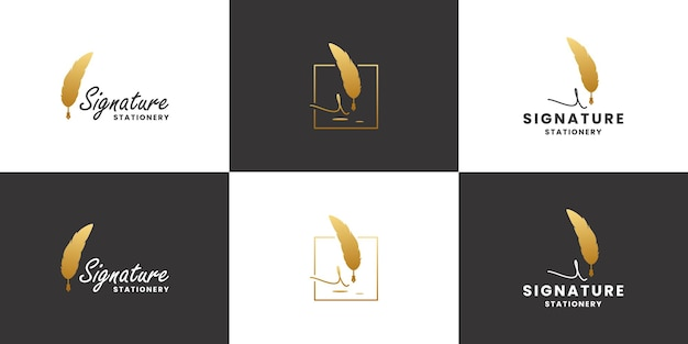 Golden signature feather pen logo design. classic, old stationery